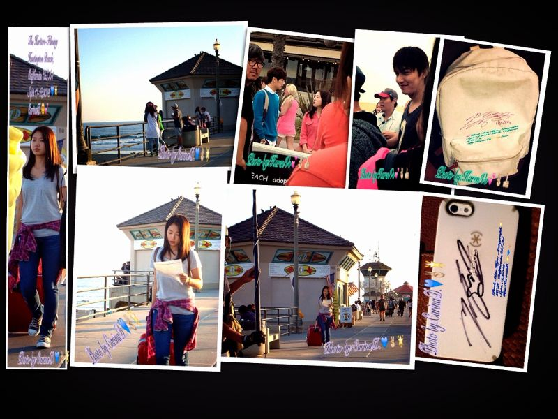 The Heirs- filming pictures in Huntington Beach,California.USA ! Park Shin Hye and Lee Min Ho. So good looking together. Flighting !